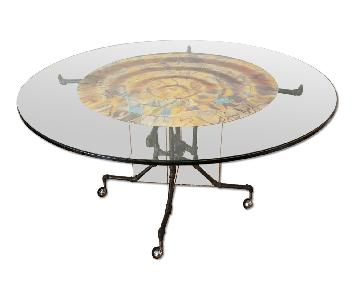 Glass & Steel Round Dining Table w/ Backlight
