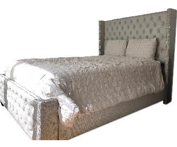 Beige Queen Upholstered Bed w/ Tufted Headboard