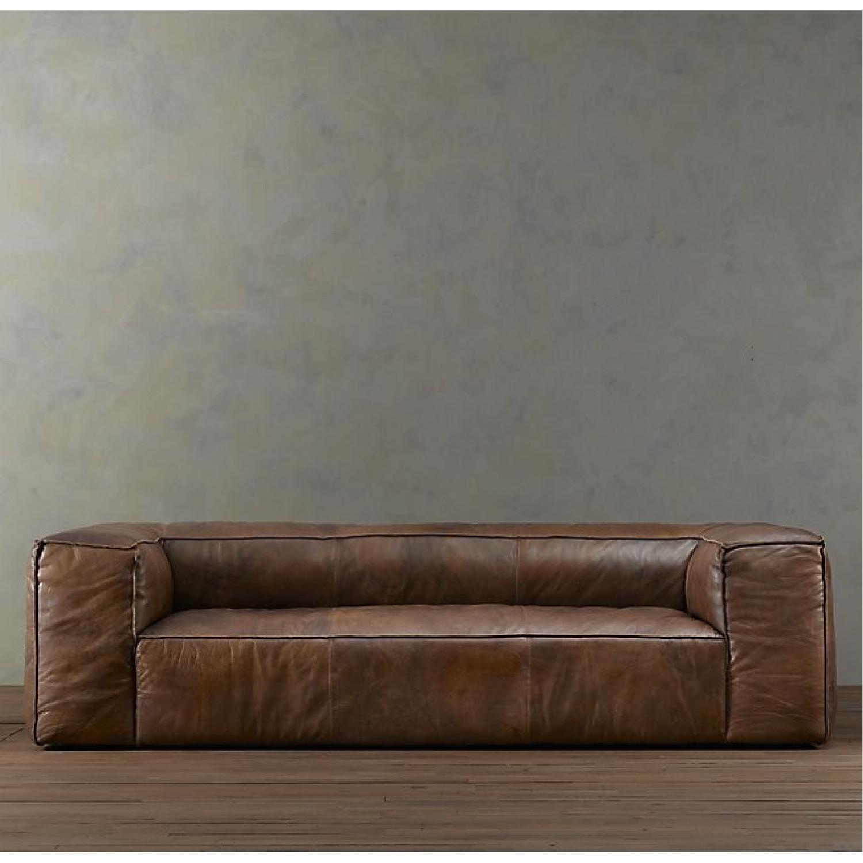 Restoration Hardware Fulham Leather Sofa