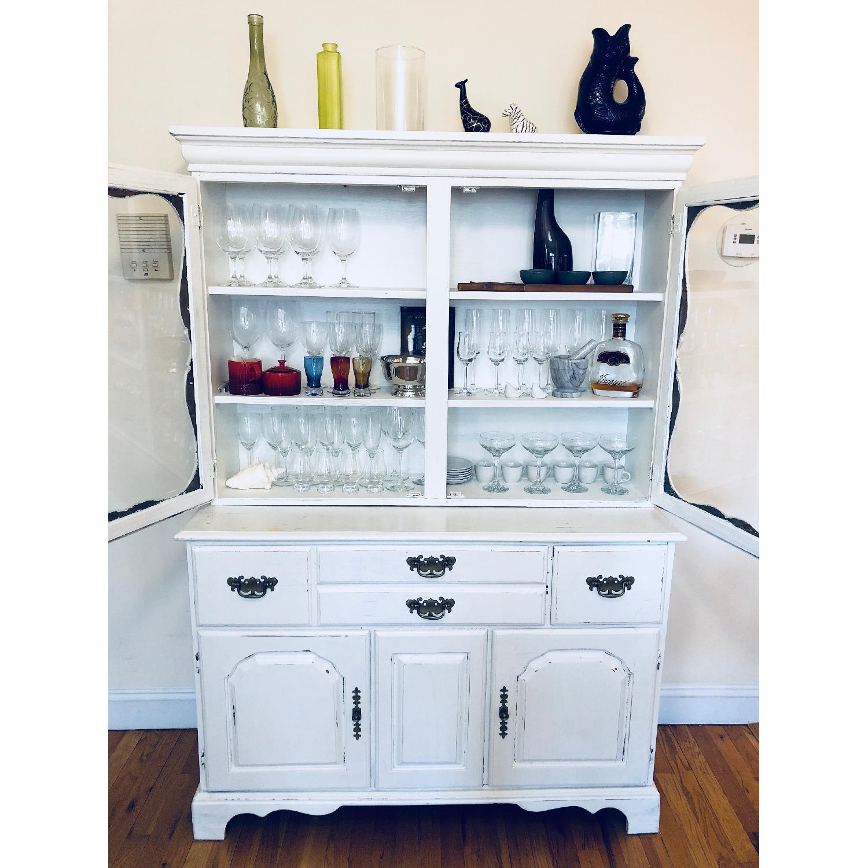 Shabby Chic Distressed White Kitchen Hutch/Buffet