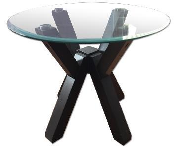 Glass Top & Dark Wood Base Side Table