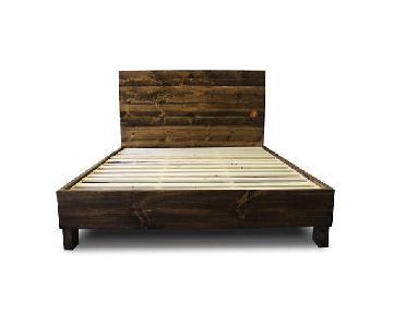 Queen Reclaimed Wood Platform Bed Frame w/ Headboard