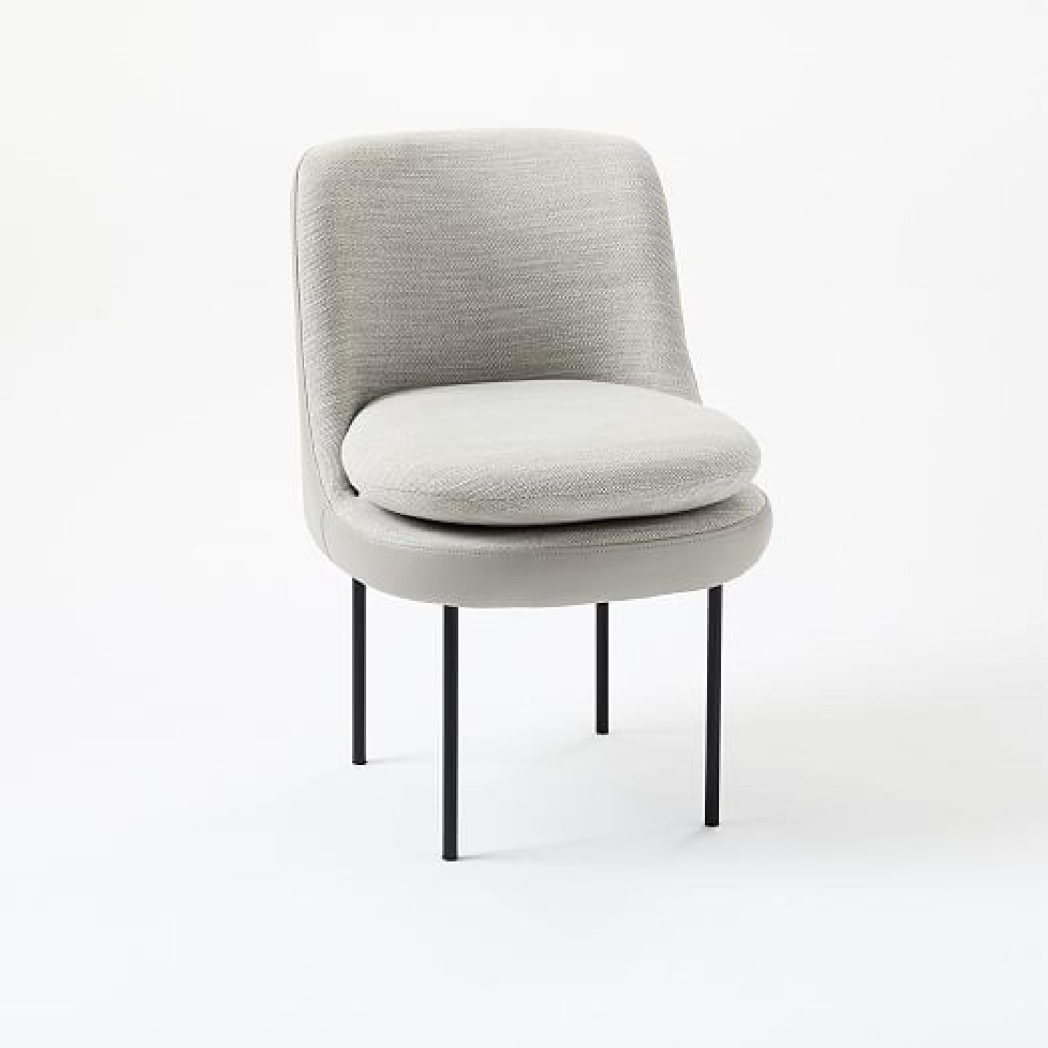 West Elm Curved Leather Dining Chair in Feather Gray