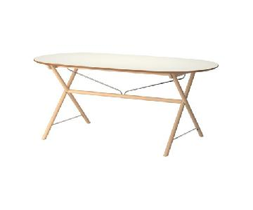Ikea Slahult White & Birch Dining Table