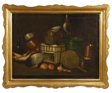 Spanish Still Life Painting Oil On Canvas w/ Gilt Frame