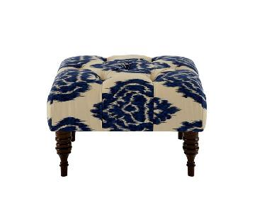 Horchow Emily Tufted Blue & White Ikat Ottoman
