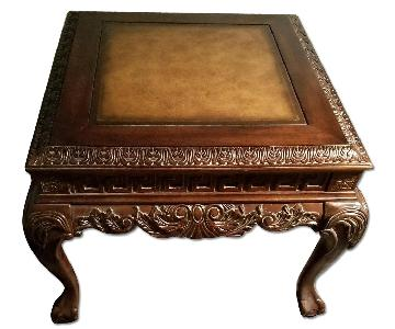 Ball & Claw Leather Top Side Table