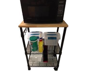 Black Metal Wood Top Kitchen Cart w/ Casters