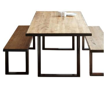 West Elm Industrial Oak & Steel 3 Piece Dining Set
