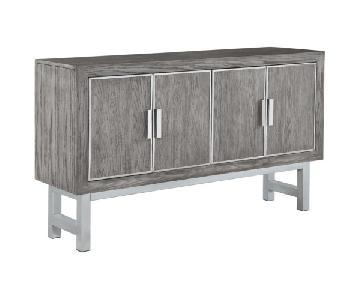 Contemporary Grey Four Door Accent Cabinet