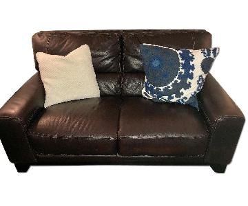 Macy's Brown Structured Leather Loveseat