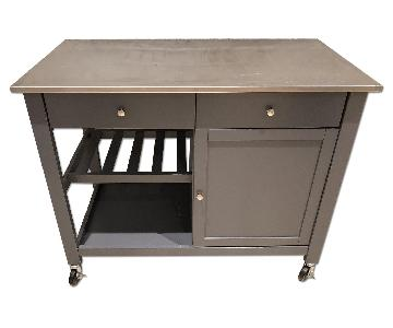 Stainless Steel Top Rolling Kitchen Island w/ Drawers