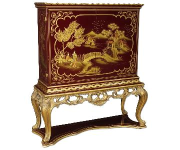 French Wet Bar in Lacquered & Gilt Chinoiserie Wood