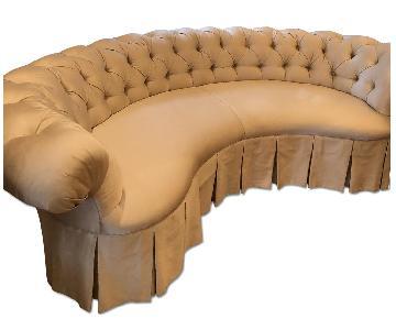 Century Furniture Silk Slipcovered Tufted Back Sofa