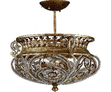 Quoizel 3 Light La Crystal Ceiling Mount in Gold Finish