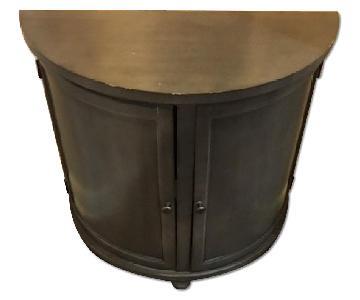 Target Half Circle Console Table w/ Doors & Shelves