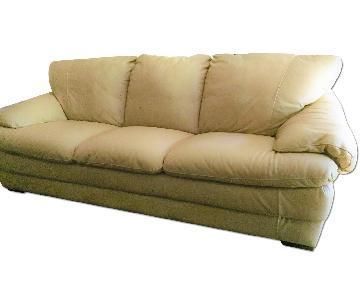 Natuzzi Leather Beige 3 Seater Sofa