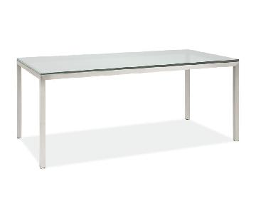 Room & Board Custom Parsons Table w/ Tempered Glass Top