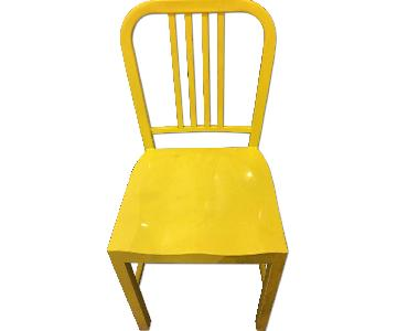 Metal Caf Chair w/ Saddle Shaped Seat & Slatted Back