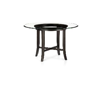 Crate & Barrel Halo Wood Dining Table w/ Glass Top