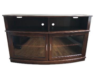 Raymour & Flanigan Dark Wood & Glass TV Console