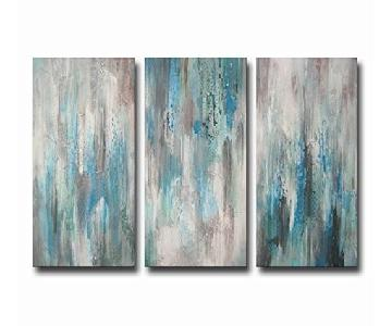 Hand-Painted Sea of Clarity 3-Piece Gallery-Wrapped Canvas