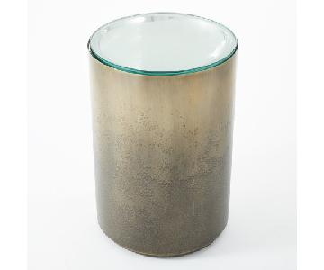 Global Views Ombre Metal Side Table w/ Glass Top