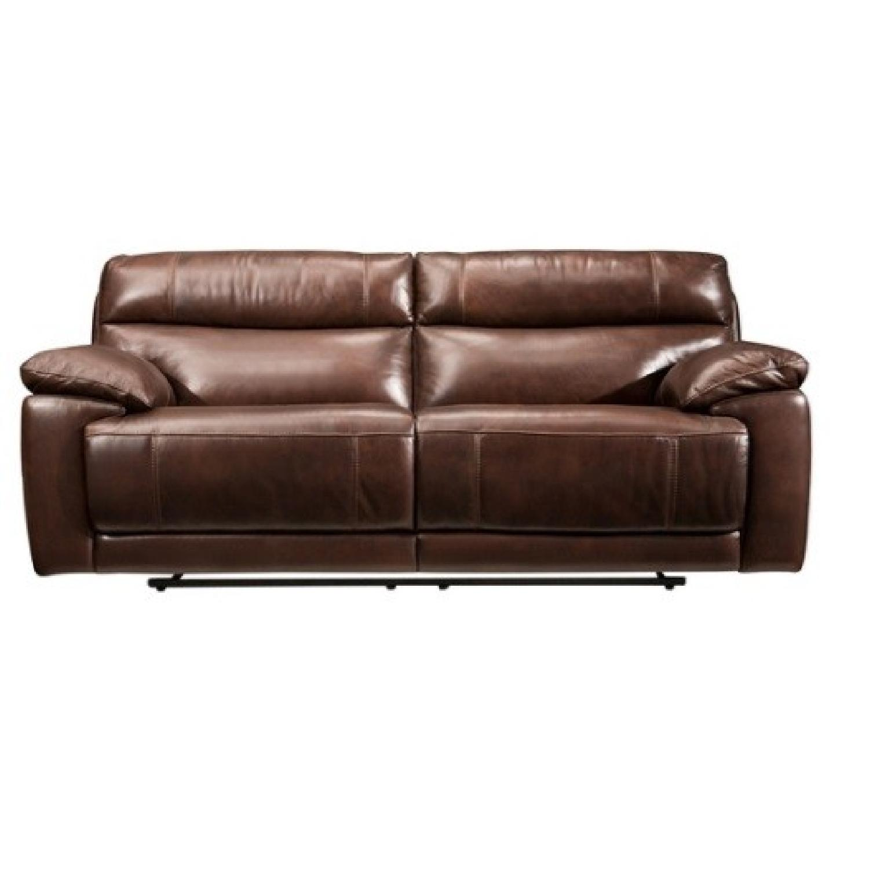 Raymour U0026 Flanigan Brown Leather Reclining Sofa ...