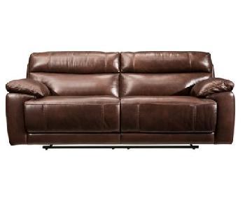 Raymour & Flanigan Brown Leather Reclining Sofa