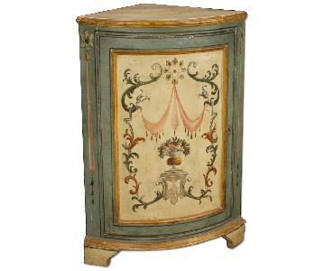Louis XVI Style Italian Painted Corner Cupboard