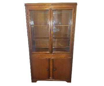 Antique Art Deco China Cabinet w/ Bakelite Pulls