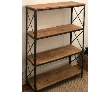 4-Shelf Industrial Wooden Bookcase/Etagere