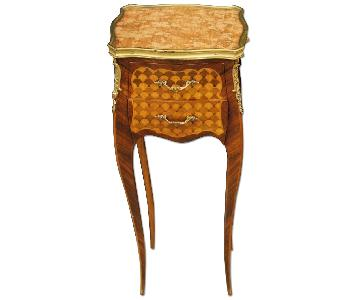 French Bedside Table in Inlaid Wood w/ Marble Top