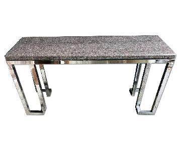 Vintage Chrome & Marble Console Table