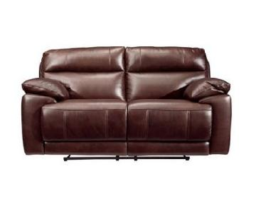 Raymour & Flanigan Reclining Brown Leather Loveseat