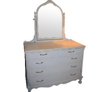 Vintage White Dresser w/ Mirror