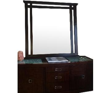 Raymour & Flanigan Wooden Server/Buffet & Mirror