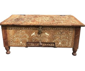 Antique Indian Top Secretary Desk/Trunk w/ inlaid ivory