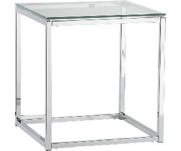 CB2 Glass & Stainless Steel End Table