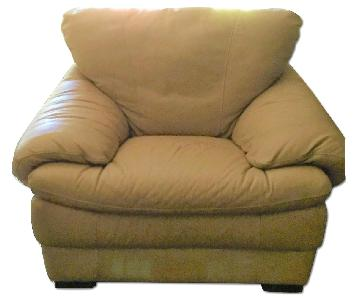 Natuzzi Beige/Natural Leather Armchair