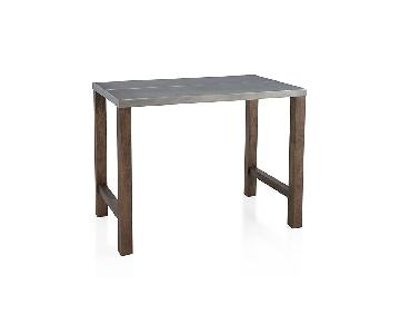 Crate & Barrel Galvin Metal Top High Dining Table