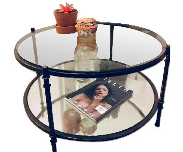 2-Tier Round Glass Coffee Table