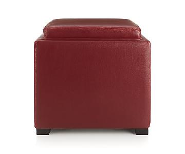 Crate & Barrel Red Stow Leather Storage Ottoman