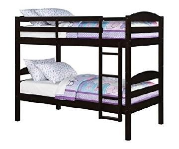 BHG Dark Brown Wood Twin Over Twin Bunk Bed