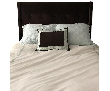 Crate & Barrel Brown Velvet Queen Upholstered Bed