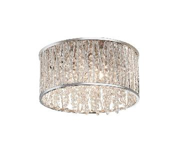 3-Light Polished Chrome & Crystal Drum Shape Flushmount