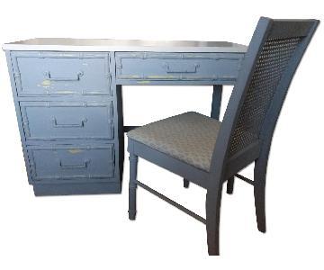 Wood Desk & Chair