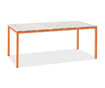 Room & Board Custom Marble Top Dining Table w/ Orange Legs