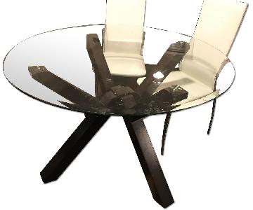 Round Glass Dining Table w/ 6 White Chairs