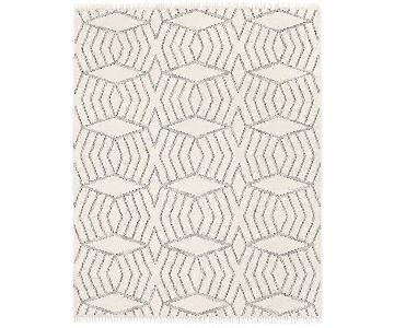 West Elm Black & White Diamond Pattern Dhurrie Wool Rug